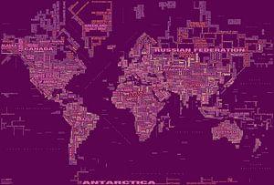 Wereldkaart Typografie, Magenta