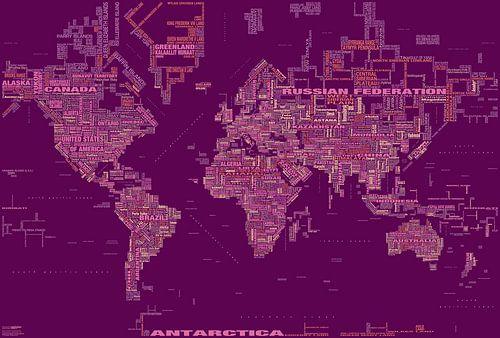 Typografische Weltkarte, Magenta