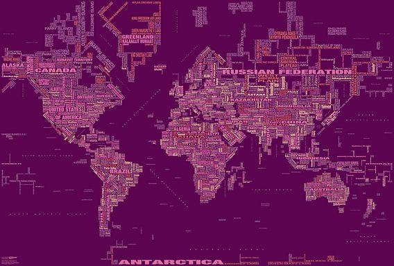 Wereldkaart Typografie, Magenta van MAPOM Geoatlas