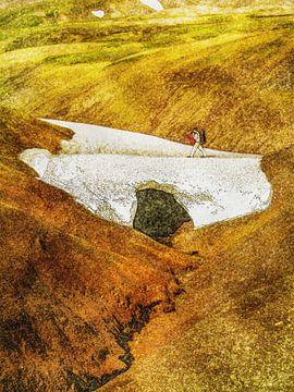 Schneebrücke im Laugavegur, Island von Frans Blok