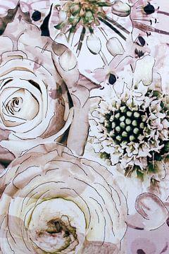 Mixed media met verschillende bloemen in wit. van Therese Brals