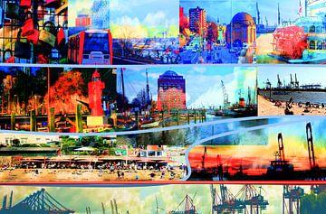 Hamburg/Elbe /Collage-1 van Peter Norden