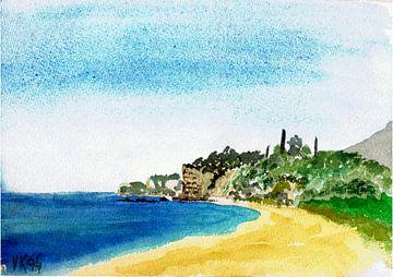 Strand, aan het Almyra strand - Elaiochorio - Griekenland - Aquarel geschilderd door VK (Veit Kessle