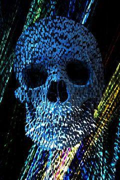Exploding Stone Skull  van Nicky`s Prints