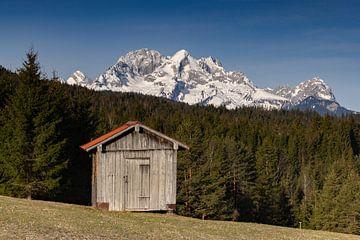 Blick von den Buckelwiesen auf Alpspitze und Zugspitze