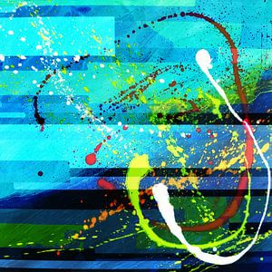 Modernes, abstraktes digitales Kunstwerk in Blau-Grün