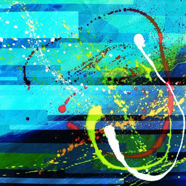 Modern, Abstract Digitaal Kunstwerk in Blauw Groen van Art By Dominic