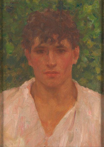 Porträt eines jungen Mannes mit offenem Kragen, Henry Scott Tuke von Meesterlijcke Meesters