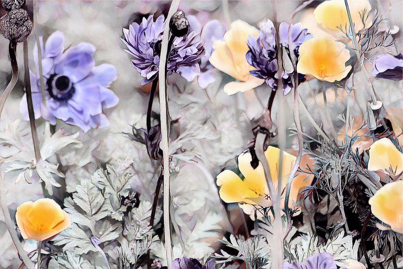 Gelber Kalifornischer Mohn und blaue Blumen von Patricia Piotrak