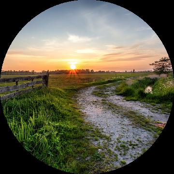 Zonsondergang Leekstermeergebied in De Onlanden met hek van R Smallenbroek