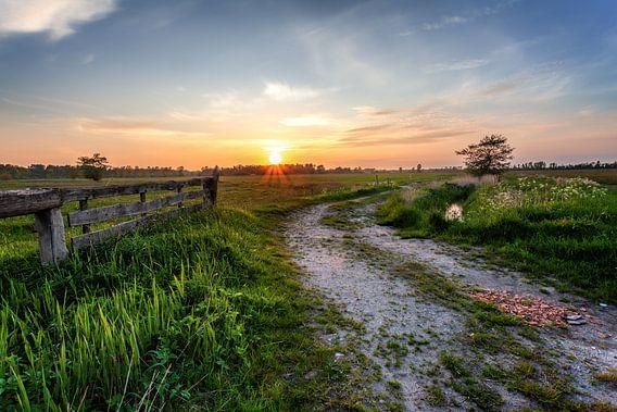 Zonsondergang Leekstermeergebied in De Onlanden met hek