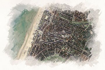 Karte Zandvoort im Aquarell-Stil von Aquarel Creative Design