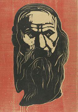 Hoofd van een oude man met baard, Edvard Munch...