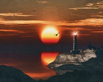 De vuurtoren van St Mathieu met een zonsondergang en turbulente Cirruswolken