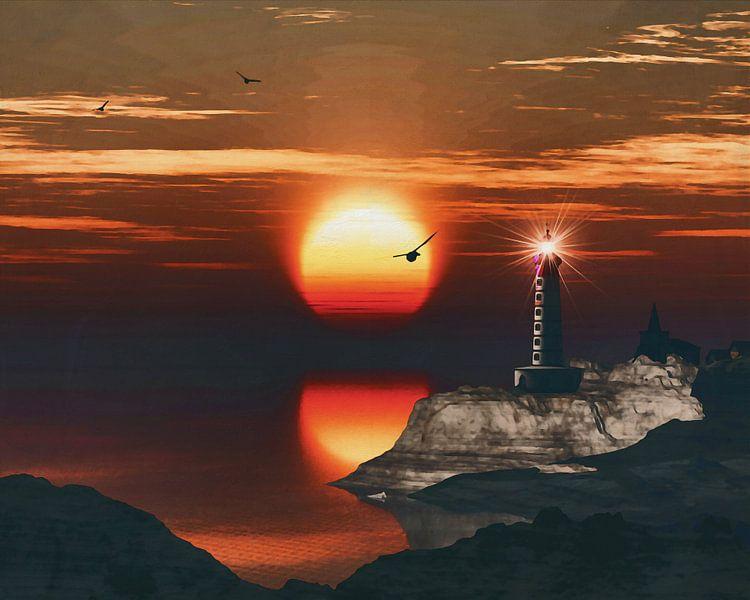 De vuurtoren van St Mathieu met een zonsondergang en turbulente Cirruswolken van Jan Keteleer