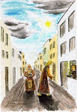 Maria en Jozef - Kerstmis - Aquarel geschilderd door VK (Veit Kessler) 1981