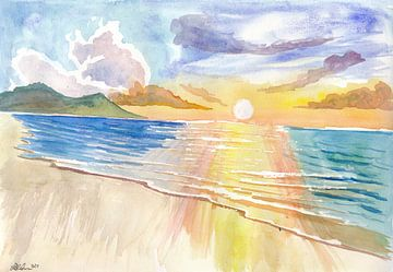 Maui Hawaii Eenzame strandscène met zonsondergang van Markus Bleichner