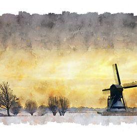 Moulin à aquarelle pays-bas sur Peter Bolman