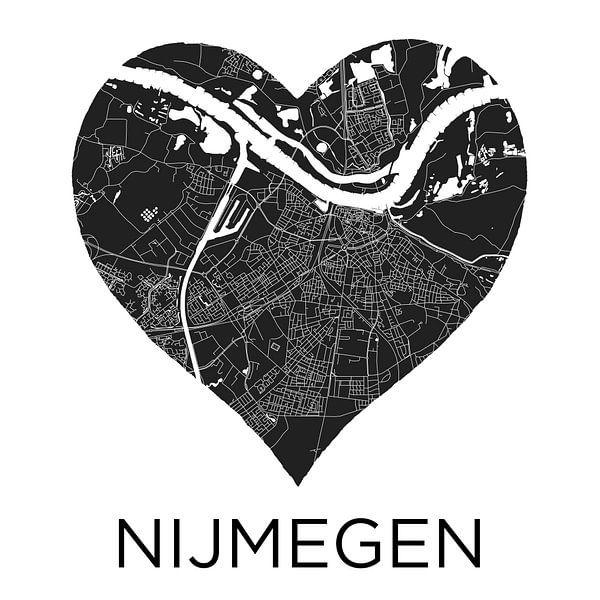 Liefde voor Nijmegen ZwartWit     Stadskaart in een hart van Wereldkaarten.Shop