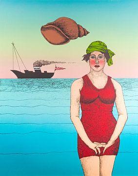 Frau im roten Badeanzug am Meer von Helmut Böhm