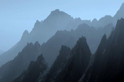 Silhouetten Gelbe Berge, Huangshan