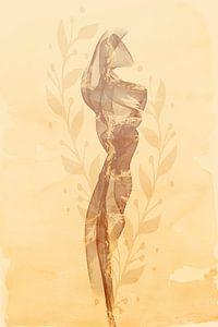 Zijden sjaal in een licht zomerbriesje | bruin