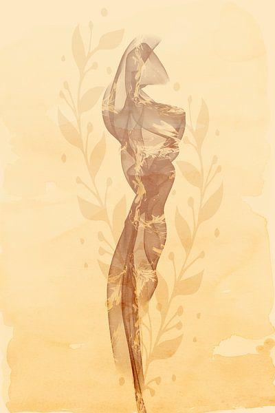 Zijden sjaal in een licht zomerbriesje | bruin van Melanie Viola