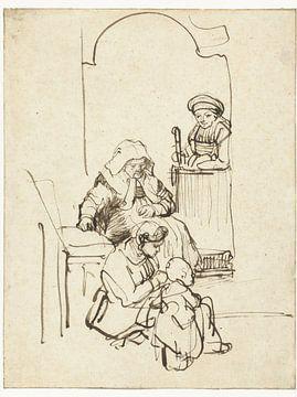 Drei Frauen und ein Kind an einer Haustür, Rembrandt van Rijn