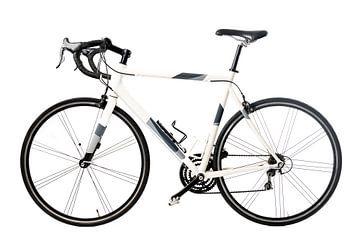Rennrad in Weiß mit schwarzen und grauen Details von Sjoerd van der Wal