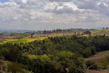 Boerderijen en cipressenlaan - Toscane - Italie van Jeroen(JAC) de Jong
