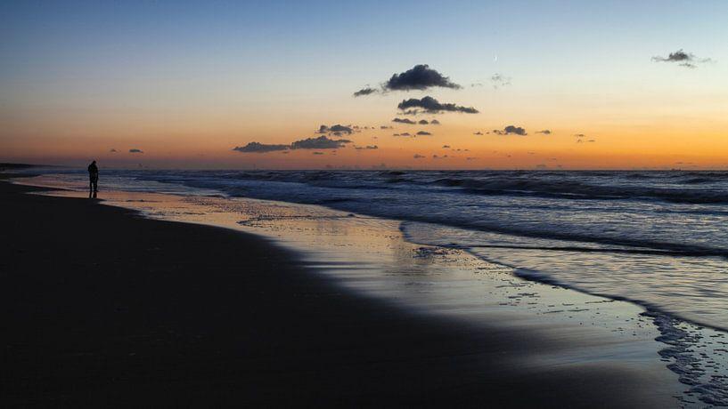 Zonsondergang aan het strand van Katwijk aan Zee von Paul Kampman