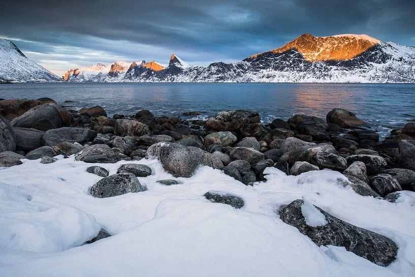 Sneeuwlandschap in Senja / Lofoten, Noorwegen van Martijn Smeets