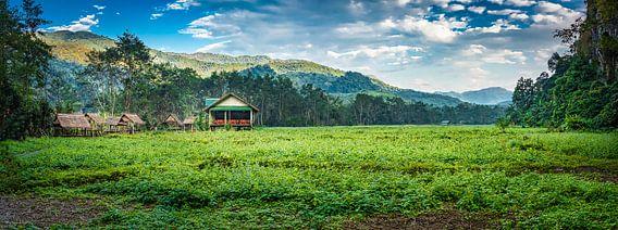 Panorama huisjes op het platteland, Laos