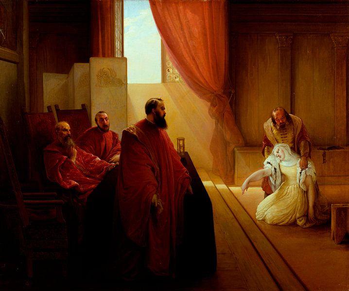 Valenza Gradenigo vor der Inquisition, Francesco Hayez von Meesterlijcke Meesters