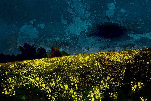 Nachtelijk landschap  langs de Lek von