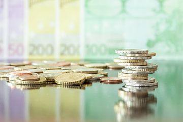 Verschillende euro's biljetten en munten van Marcel Derweduwen