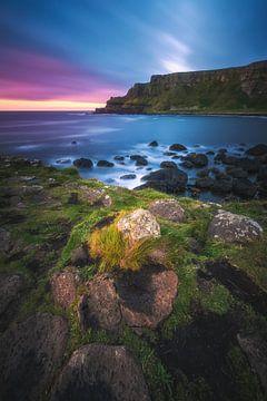 Irland Giant's Causeway mit Klippen am Abend von Jean Claude Castor