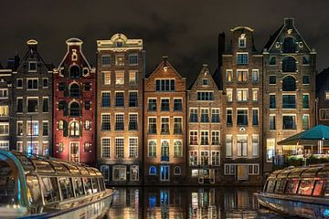 Damrak Amsterdam en couleur sur Michiel Buijse
