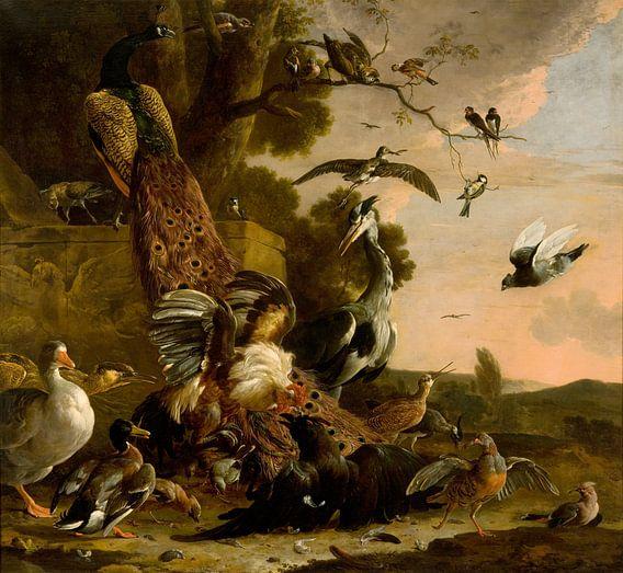 Melchior d' Hondecoeter, De raaf wordt beroofd van de veren waarmee hij zich had getooid van Meesterlijcke Meesters
