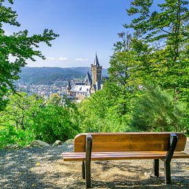 Aussicht vom Agnesberg auf das Schloss Wernigerode von Melanie Viola
