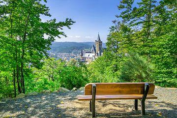 Uitzicht op kasteel Wernigerode vanaf de Agnesberg van Melanie Viola