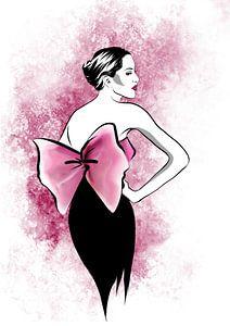 Rosa Vintage Schleife Modeillustration