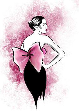Illustration de mode rose avec nœud papillon vintage sur Janin F. Fashionillustrations