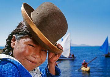 Aymara-Indianerin mit Melone am Titicacasee, Bolivien