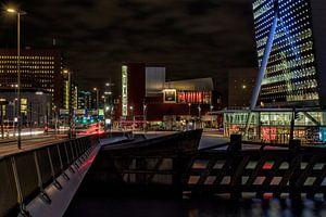 Zicht op de Wilhelminapier in Rotterdam