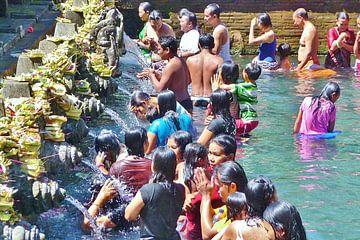 Bali, rituele wassing. van