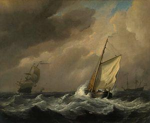 Ein kleines holländisches Schiff in einer starken Brise eingeholt, Willem van de Velde