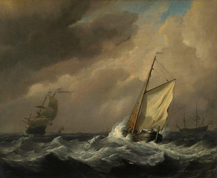 Ein kleines holländisches Schiff in einer starken Brise eingeholt, Willem van de Velde von Meesterlijcke Meesters