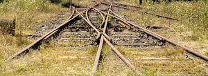 Beeindruckender Eisenbahnknotenpunkt, Belgien I Retro-Look - Industrial I Kunst Farbdruck