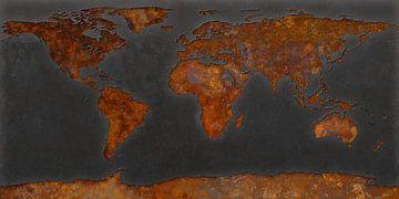 Rouille de la carte du monde - signal noir
